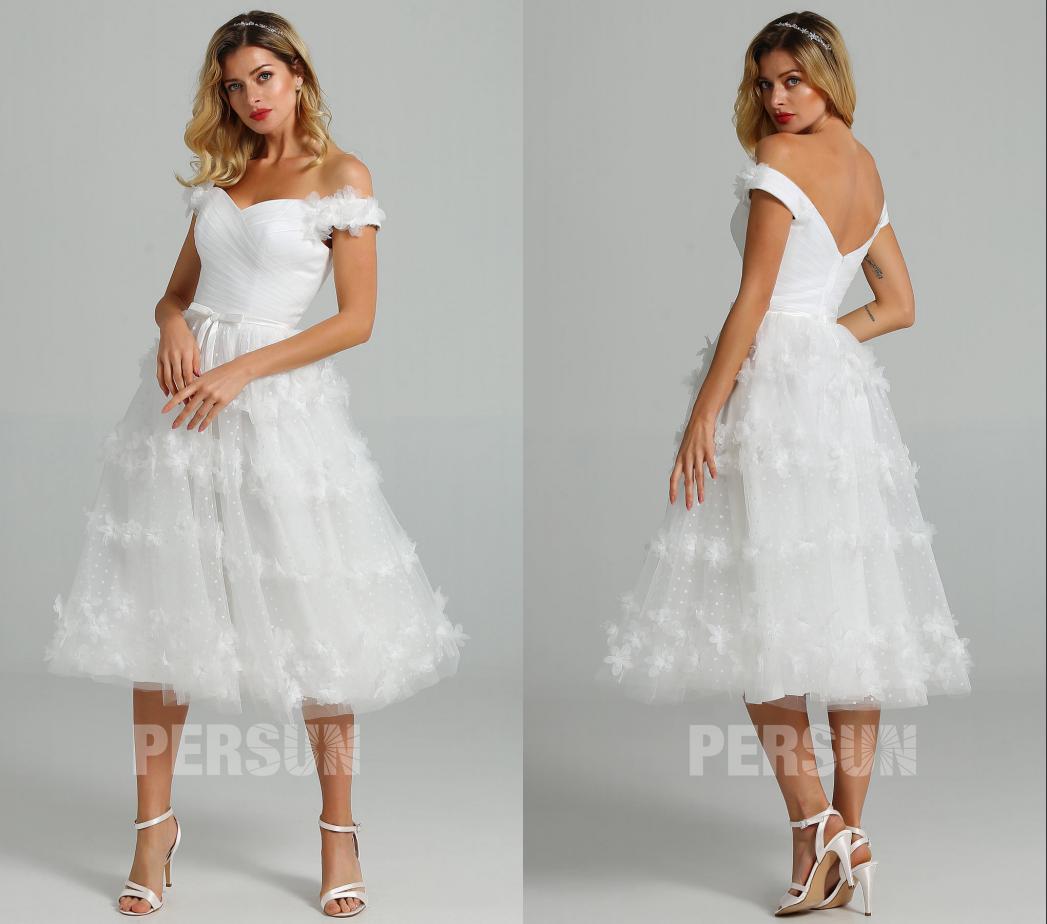 robe de mariée mi-longue épaule dénudée jupe plumetis ornée de fleurs 3D