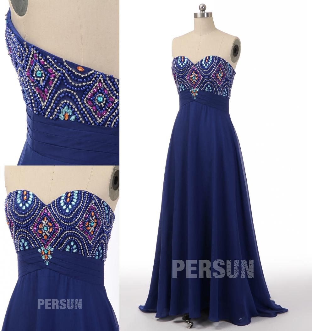 robe de soirée longue bleu royal bustier coeur embelli de perles colorées