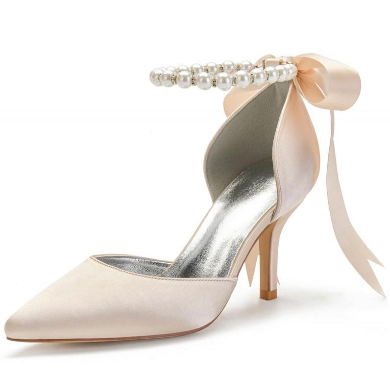sandale champagne talon haut à bride perlé embelli de noeud papillon