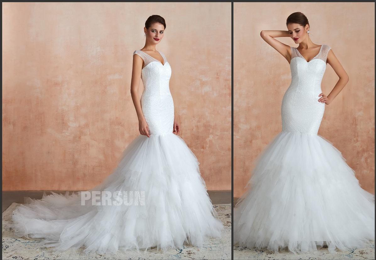 robe de mariée sirène parsemé de sequins jupe froufrou