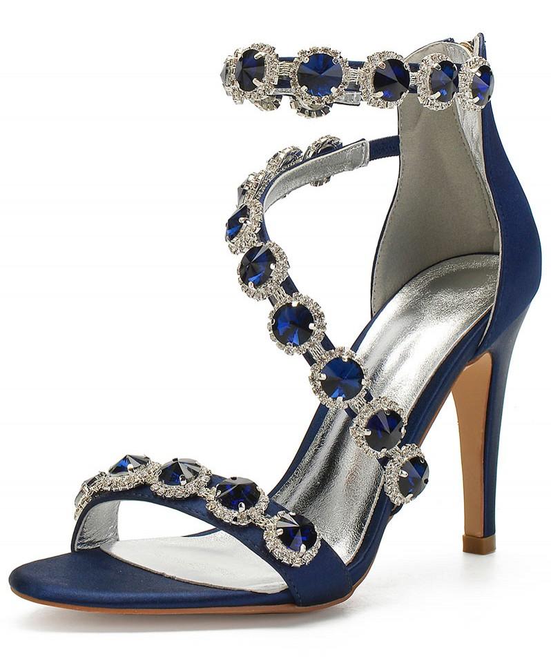 sandale bleu nuit talon haut embelli de bijoux