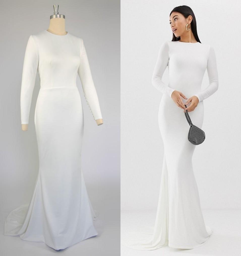 robe de mariée simple moulante manches longue