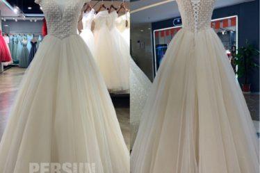 robe de mariée romantique écru princesse embelli de perles à mancherons