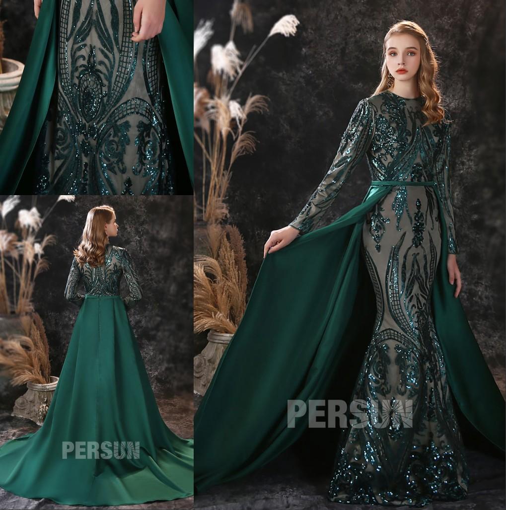 robe de mariée sirène vert foncé dentelle pailleté avec manche avec traîne longue
