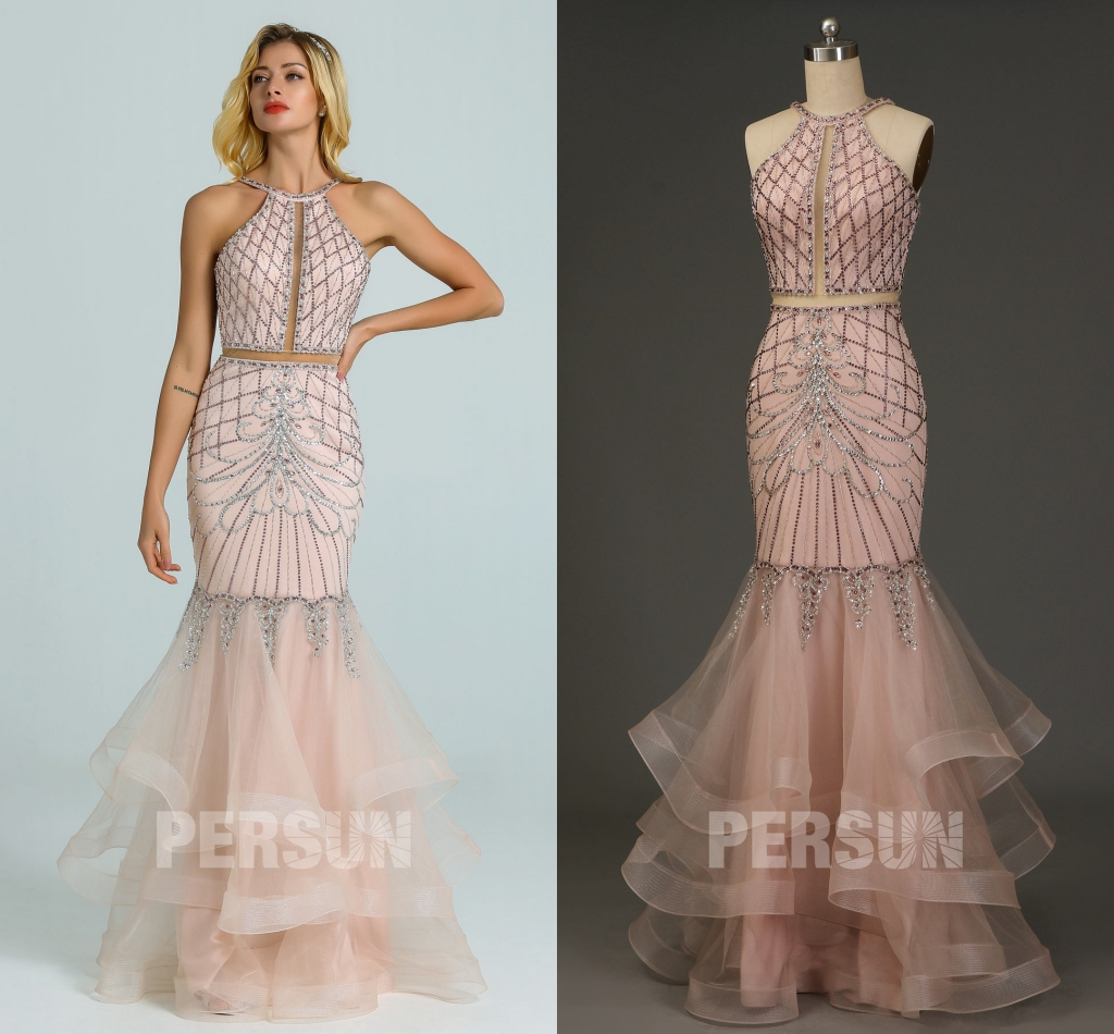 robe mariée rose sirène bustier découpé parsemé de bijoux